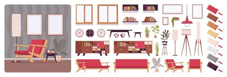 Living room full home interior design, office creation kit, lounge set with furniture, different constructor elements to build own image. Cartoon flat style infographic illustration with color palette Stock Illustratie