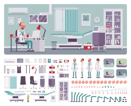 Male doctor in general practitioner office interior creation kit, workspace set, furniture, build own design with wall and floor color constructor elements. Cartoon flat style infographic illustration