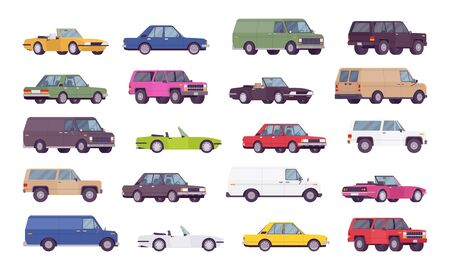 Cars big bundle set. Coupes, sedans, family trucks and hybrid vehicle collection, city transport models and country automobile. Vector flat style cartoon illustration isolated on white background Stock fotó - 132033364