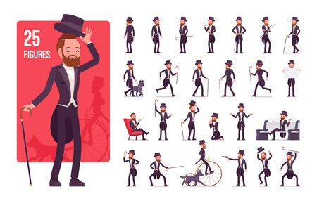 Gentleman, black tuxedo jacket character set. High social rank elegant man, fashionable dandy in classic suit and cylinder hat, retro image. Full length, different views, gestures, emotions and poses