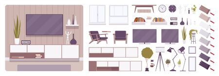 TV cabinet interior and television room design creation set, decor ideas, living room furniture kit, constructor element to build own design. Cartoon flat style infographic illustration, color palette
