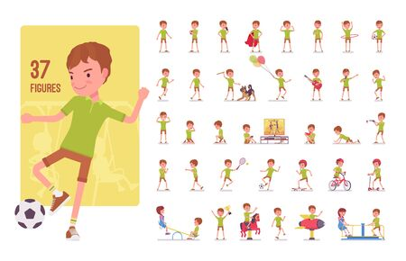 Boy child 7 to 9 years old, school age kid character set. Schoolboy, active guy in summer wear, fun and entertainment playing on playground. Full length, different views, gestures, emotions and poses