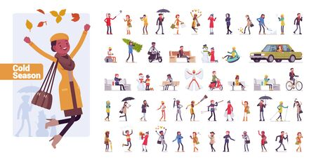 Young folks big bundle character set. Active people of nice appearance wearing modern clothing enjoying youth life in sport and music. Vector flat style cartoon illustration isolated, white background