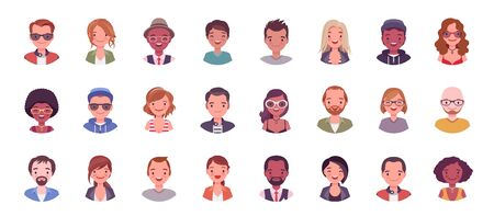 People avatar big bundle set. User pic, different human face icons for representing person in a video game, Internet forum, account. Vector flat style cartoon illustration isolated on white background Illusztráció