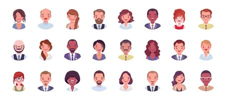 Ensemble de gros paquets d'avatar de gens d'affaires. Les hommes d'affaires et les femmes d'affaires font face à des icônes, une image de personnage pour représenter l'utilisateur en ligne sur le réseau social. Illustration de dessin animé de style plat vecteur isolé, fond blanc