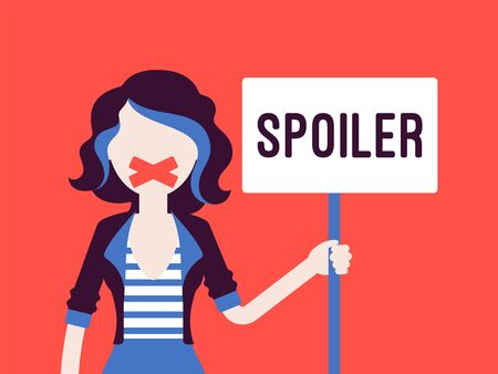 Spoiler alert woman. Girl with her mouth sealed by adhesive tape not to reveal unknown aspect, movie plot, major plot detail from the series finale message. Vector illustration with faceless character 일러스트