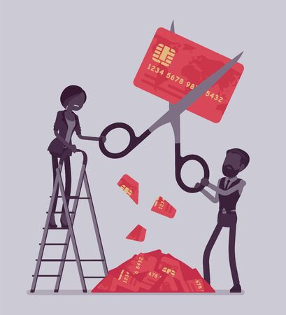 Rate cut credit card. Man and woman cutting with giant scissors, banking panics when economy is in a slump, big recession and disturbance to financial markets. Vector illustration, faceless characters