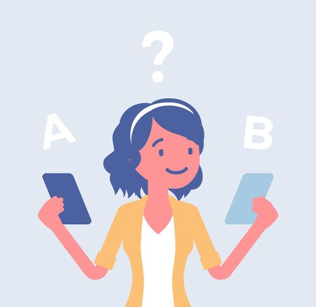 Smartphone-Vergleich für ein Mädchen. Junge Dame wählt zwischen zwei Smartphones, bewertet Produkteigenschaften, sucht nach Unterschieden, Designansicht, Marke und Preis. Vektor-flache Cartoon-Illustration Vektorgrafik