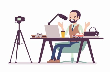podcaster streaming. Man writing material to blog, reviewing for online journal or website content, posting short video to vlog, recording program. Vector flat style cartoon illustration