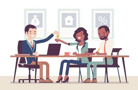 Mortgage for a black family in a bank. Young man and woman making an agreement, lending money to get own property in debt, owners receiving new apartment keys. Vector flat style cartoon illustration