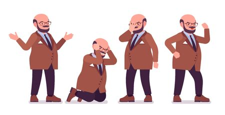 Chubby heavy man with belly negative emotions. Overweight, fat body shape. Middle age bold guy, kind civil service worker. Big men fashion plus size formal wear. Vector flat style cartoon illustration Ilustracja