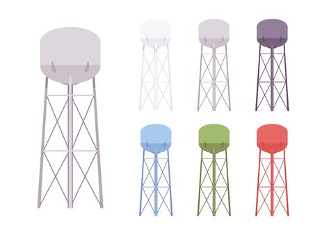 Water tower set. Modern high metal large tank construction, standpipe serving as a hydro reservoir and resources storage system. Vector flat style cartoon illustration, different colors and views