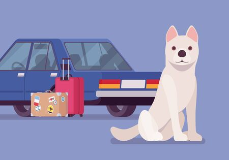 Car travel, road trip with pet dog. Cute puppy fears auto riding, owners moving and leaving lonely pet behind or in boarding kennel, going on vacation together. Vector flat style cartoon illustration Standard-Bild - 133355077