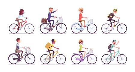 Cyclists and bicycles set. Male, female happy persons riding different cycles for sport, fun, work, business or recreation, use sharing system in public places. Vector flat style cartoon illustration Illusztráció