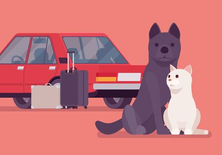 Car travel, road trip with pet cat and dog. Cute puppy and kitten fear auto riding, owners moving on vacation, leaving lonely pets behind or in boarding kennel. Vector flat style cartoon illustration Illusztráció