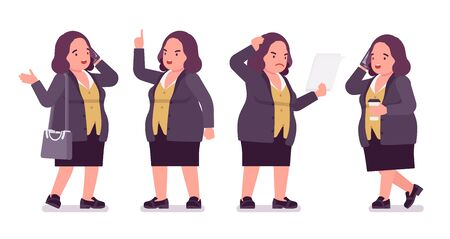 Chubby woman on business work. Overweight middle aged lady, kind civil service worker. Curvy, voluptuous body type, big women fashion, plus size formal wear. Vector flat style cartoon illustration