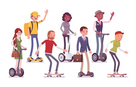 Personal vehicle and electric transport devices. Young male, female happy persons riding modern self-balancing board, gyroscooter, hoverboard, skateboard, enjoy. Vector flat style cartoon illustration