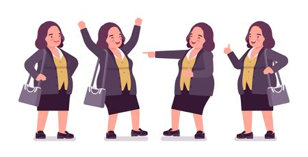 Chubby woman in positive emotion. Overweight middle aged lady, kind civil service worker. Curvy, voluptuous body type, big women fashion, plus size formal wear. Vector flat style cartoon illustration