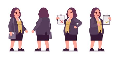 Chubby woman standing. Overweight fat shape. Middle aged lady, kind civil service worker. Curvy, voluptuous body type, big women fashion, plus size formal wear. Vector flat style cartoon illustration