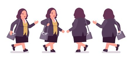 Chubby woman walking. Overweight fat shape. Middle aged lady, kind civil service worker. Curvy, voluptuous body type, big women fashion, plus size formal wear. Vector flat style cartoon illustration