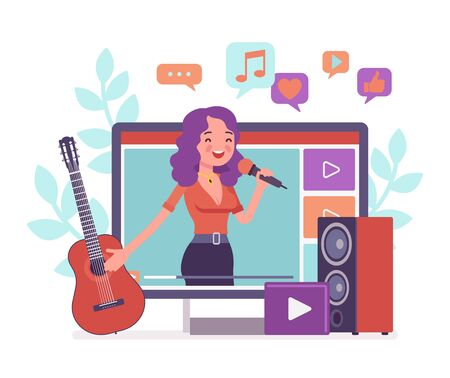 Music streamer girl. Young attractive woman broadcasting online popular songs, creating inspiring and entertaining musical content for journal or diary, blogging as hobby and job. Vector illustration Иллюстрация