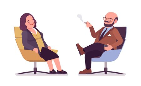 Chubby heavy man and curvy woman with belly resting. Overweight and fat body shape, round kind civil service worker. Big people fashion, plus size formal wear. Vector flat style cartoon illustration  イラスト・ベクター素材