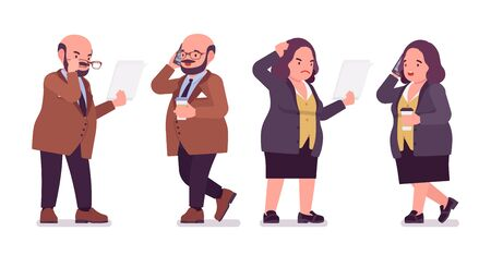 Chubby heavy man and curvy woman busy at paper work. Overweight and fat body shape, round kind civil service worker. Big people fashion, plus size formal wear. Vector flat style cartoon illustration