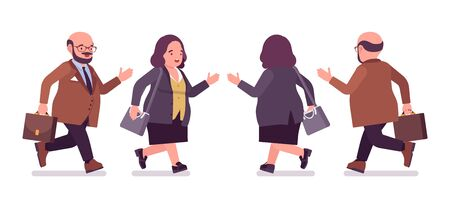 Chubby heavy man and curvy woman with belly running. Overweight and fat body shape, round kind civil service worker. Big people fashion, plus size formal wear. Vector flat style cartoon illustration Illustration