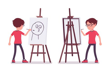 School boy drawing funny picture at artist easel. Cute small guy in glasses on art lesson, active young kid, smart elementary pupil aged between 7, 9 years old. Vector flat style cartoon illustration Standard-Bild - 134791803
