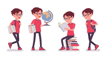School boy studying with globe and books. Cute small guy in glasses, busy learning active young kid, smart elementary pupil aged between 7 and 9 years old. Vector flat style cartoon illustration