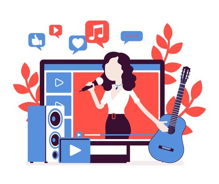 Music streamer girl. Woman broadcasting online popular songs, creating inspiring, entertaining musical content for journal or diary, blogging as hobby, job. Vector illustration with faceless character