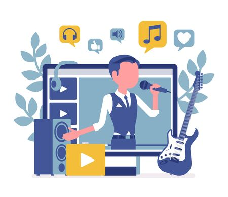 Music streamer boy. Man broadcasting online popular songs, creating inspiring and entertaining musical content for journal or diary, blogging as hobby, job. Vector illustration with faceless character Иллюстрация