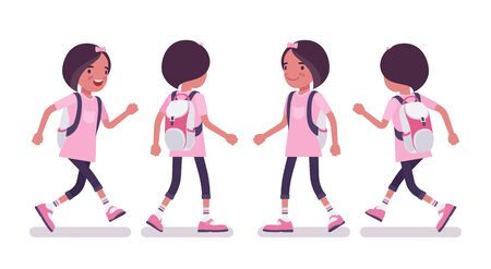 School girl in casual wear walking, running. Cute small lady in pink tshirt with rucksack, active young kid, smart elementary pupil aged between 7, 9 years old. Vector flat style cartoon illustration