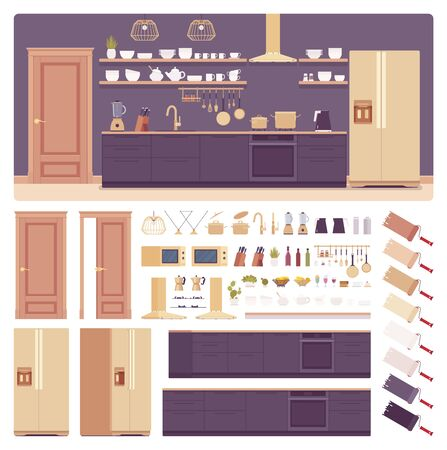 Kitchen room interior, home space creation set, hi-tech cabinet, vent hood, kit with furniture, constructor element to build your own design. Cartoon flat style infographic illustration, color palette
