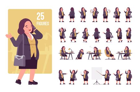 Chubby woman character set. Middle aged lady, kind civil service worker in curvy, voluptuous body type, big women fashion, plus size formal wear. Full length, different view, gestures, emotions, poses