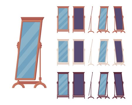 Passender Bodenspiegel, bodenlanges Ankleidezimmer oder Schlafzimmer stehendes Dekoelement in klassischem Holzdesign. Ganzkörper-horizontaler Vektor-Flachbild-Cartoon-Illustration, andere Ansicht und Farbe Vektorgrafik