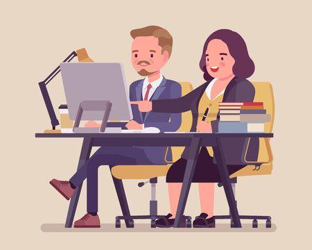 Mujer entrenando y asesorando a un joven empleado. Ambiente de trabajo positivo en la oficina, apoyo y estímulo para desarrollar habilidades, relación efectiva con el aprendiz. Ilustración de dibujos animados de estilo plano de vector Ilustración de vector