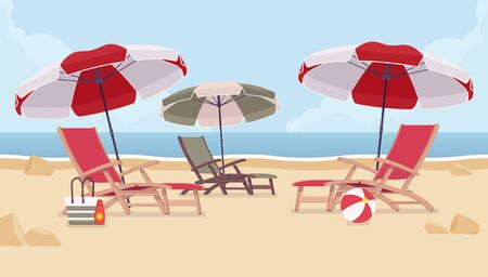 Sea vacation beach chairs. Place for reflection, relaxation and renewal to experience journey therapy, family friendly resort welcoming and waiting for tourist. Vector flat style cartoon illustration