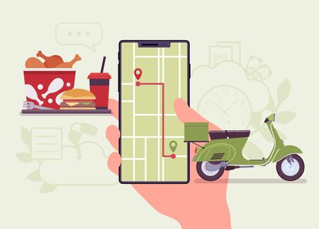 Food order tracking system on smartphone screen. Scooter journey shipping tracker to a customer, goods pick up, delivery and fulfillment process app service. Vector flat style cartoon illustration