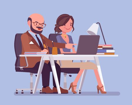 Man coaching and mentoring a young female employee. Office positive work environment, support and encouragement to develop skills, effective mentee relationship. Vector flat style cartoon illustration Stock fotó - 135247409
