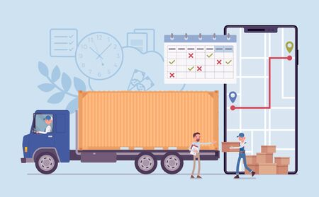 Order tracking system on smartphone screen. Track journey shipping tracker to customer or warehouse, goods pick up, delivery and fulfillment process app service. Vector flat style cartoon illustration Illustration