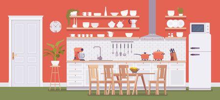 Intérieur rouge vif de la cuisine, zone d'accueil avec armoire, hotte, évier, plaque de cuisson et réfrigérateur. Appareils fonctionnels, décoration, inspiration remodelage. Illustration de dessin animé de style plat de vecteur