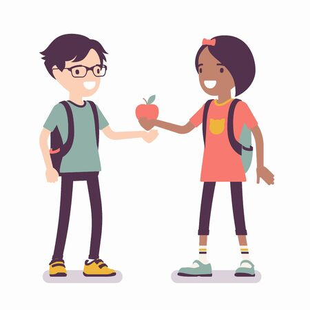 Girl sharing apple with boy friend. Child giving red fruit of knowledge, wisdom, mutual trust, kindness and support between teens, gesture providing love, care. Vector flat style cartoon illustration