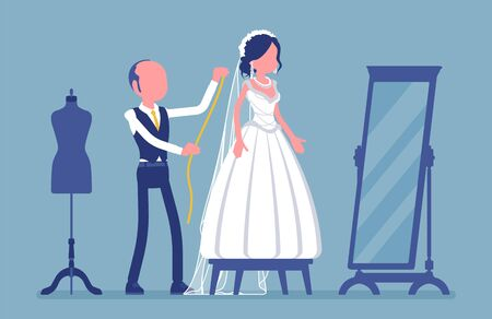 Wedding dress fitting, alterations with a tailor. Happy bride selecting a white dream gown at mirror, male seamstress pinning session for taking measurements. Vector illustration, faceless characters