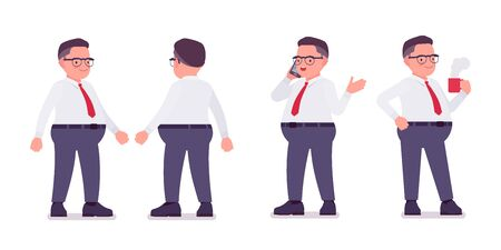 Fat male clerk standing with a phone, mug. Heavy middle aged business guy, office manager and civil service worker, typical employee in a plus size formal wear. Vector flat style cartoon illustration