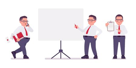 Fat male clerk working at board, with papers. Heavy middle aged business guy, office manager, civil service worker, typical employee in a plus size formal wear. Vector flat style cartoon illustration
