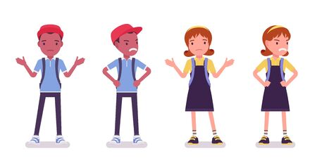 School boy and girl in a casual wear perplexed, angry. Cute small children with rucksack, active young kids, smart elementary pupils aged between 7, 9 years old. Vector flat style cartoon illustration 向量圖像