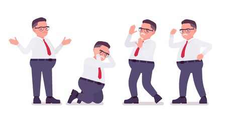 Fat male clerk busy in positive emotions. Heavy middle aged business guy, office manager and civil service worker, typical employee in a plus size formal wear. Vector flat style cartoon illustration