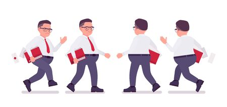 Fat male clerk busy walking, running. Heavy middle aged business guy, office manager and civil service worker, typical employee in a plus size formal wear. Vector flat style cartoon illustration Stok Fotoğraf - 137623956