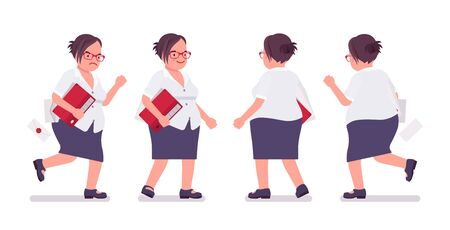 Fat female clerk busy walking, running. Heavy middle aged business lady, office manager and civil service worker, typical employee in a plus size formal wear. Vector flat style cartoon illustration Stok Fotoğraf - 137624125